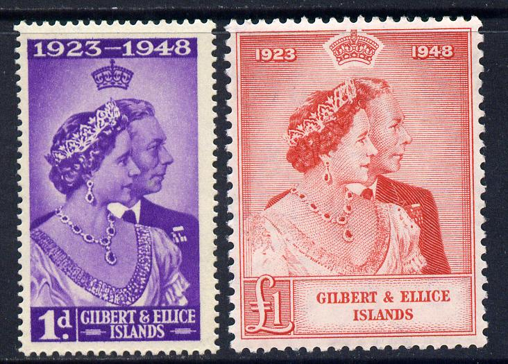 Gilbert & Ellice Islands 1949 KG6 Royal Silver Wedding set of 2 cds used SG 57-8