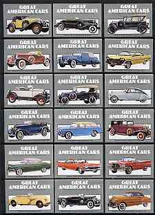 Match Box Labels - complete set of 18 Great American Cars, superb unused condition (Cornish Match Co)