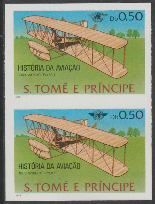 St Thomas & Prince Islands 1979 Aviation History 0.5Db (Wright Flyer 1) imperf proof pair in issued colours on ungummed paper