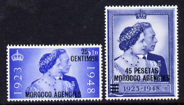 Morocco Agencies - Spanish 1948 KG6 Royal Silver Wedding perf set of 2 mounted mint, SG 176-7