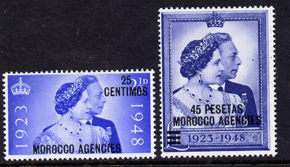 Morocco Agencies - Spanish 1948 KG6 Royal Silver Wedding perf set of 2 unmounted mint, SG 176-7