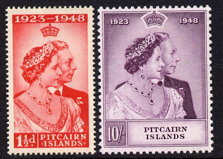 Pitcairn Islands 1949 KG6 Royal Silver Wedding perf set of 2 mounted mint, SG 11-12