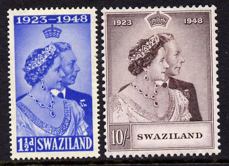 Swaziland 1948 KG6 Royal Silver Wedding perf set of 2 mounted mint, SG 46-7