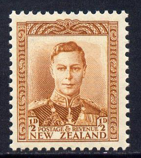 New Zealand 1938-44 KG6 1/2d orange-brown unmounted mint, SG 604
