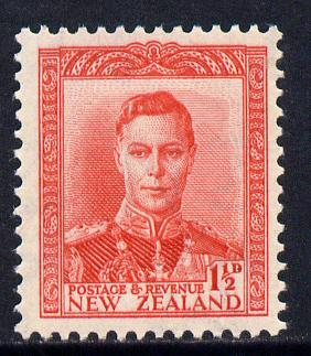 New Zealand 1938-44 KG6 1.5d scarlet unmounted mint, SG 608