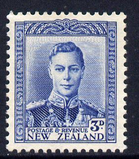New Zealand 1938-44 KG6 3d blue unmounted mint, SG 609