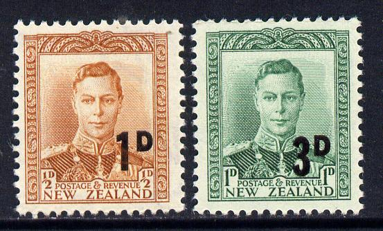 New Zealand 1952 KG6 surcharged set of 2 - 1d on 1/2d brown-orange & 3d on 1d green unmounted mint, SG 712-3