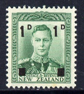New Zealand 1941 KG6 surcharged 1d on 1/2d green unmounted mint, SG 628