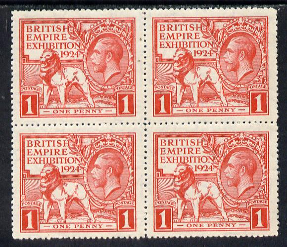 Great Britain 1924 KG5 Wembley Exhibition 1d red block of 4 mounted mint, SG 480