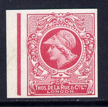Cinderella - Great Britain 1911 De La Rue undenominated imperf Minerva Head dummy stamp in cerise with solid background unmounted mint