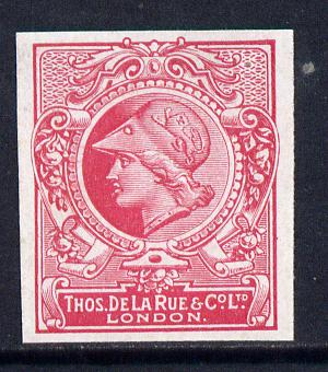 Cinderella - Great Britain 1911 De La Rue undenominated imperf Minerva Head dummy stamp in cerise with part shaded background unmounted mint