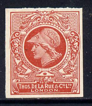 Cinderella - Great Britain 1911 De La Rue undenominated imperf Minerva Head dummy stamp in orange-red with solid background unmounted mint