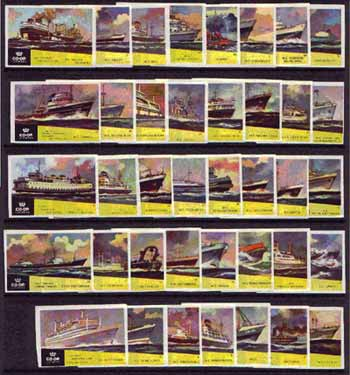 Match Box Labels - complete set of 40 Ships, superb unused condition (Co-op Lucifers series from 1962)