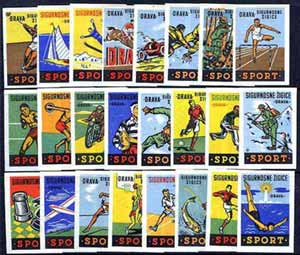 Match Box Labels - complete set of 24 Sports & Pastimes, superb unused condition (Yugoslavian Drava series)