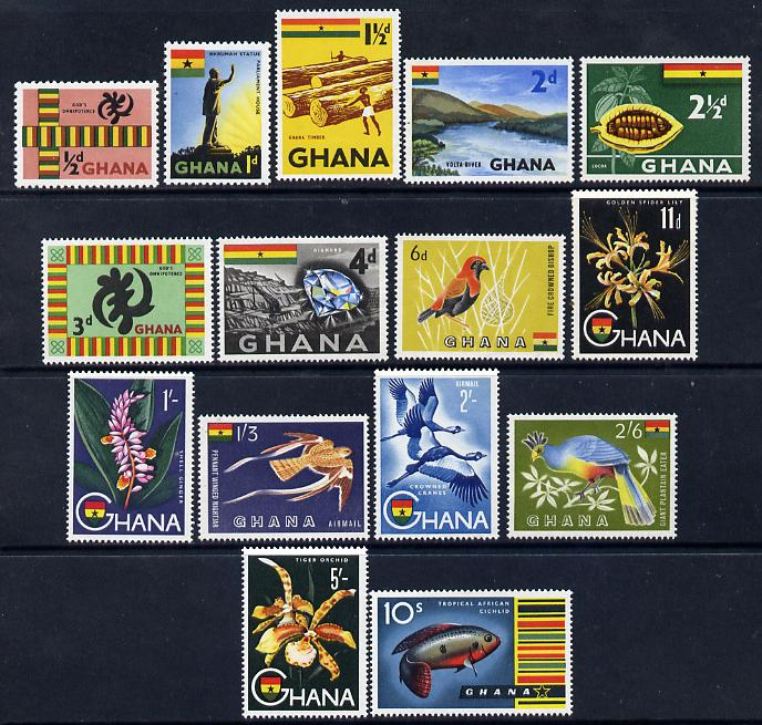 Ghana 1959-61 Pictorial definitive set to 10s - 15 values unmounted mint, SG 213-27 (ex 225a)