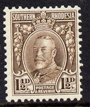 Southern Rhodesia 1931-37 KG5 1.5d chocolate perf 11.5 unmounted mint, as SG 16c