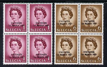 St Lucia 1967 unissued 1c & 6c with Statehood overprint in black each in blocks of 4 unmounted mint, stamps on constitutions