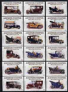 Match Box Labels - complete set of 18 Vintage Cars, superb unused condition (Cornish Match Co for Arthur Cooper)