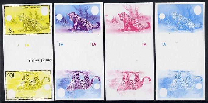 Belize 1983 WWF - Jaguar 5c & 10c in imperf se-tenant tete-beche gutter pair - the set of 4 imperf progressive proofs comprising various single & multiple combination composites, extremely rare unmounted mint (SG 756-7)