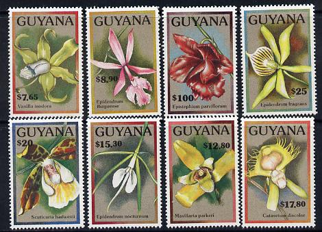 Guyana 1990 Flowers part set of 8 values unmounted mint SG 2862 etc