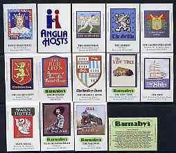 Match Box Labels - complete set of 14 Inn Signs, superb unused condition (Cornish Match Co for Anglia Barnaby)