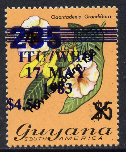Guyana 1983 World Telecommunications & Health Day $4.50 on 235 on $5 Royal Wedding stamp unmounted mint SG 1095a