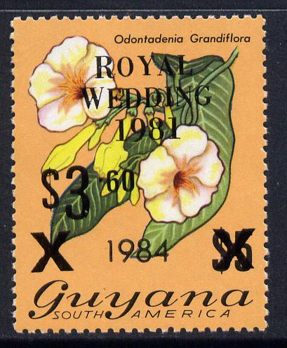 Guyana 1984 Surcharged $3.60 on $5 (black surch) on Royal Wedding overprint unmounted mint, SG 1353
