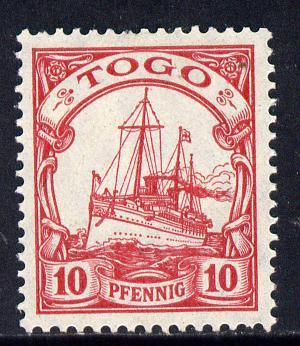 Togo 1900 Yacht 10pf carmine no watermark unmounted mint SG  G9