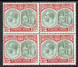 St Kitts-Nevis 1920-22 KG5 MCA Medicinal Spring 10s green & red on green block of 4 unmounted mint but light rusting SG35