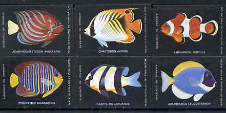 Match Box Labels - complete set of 6 Fish, superb unused condition (Finn Match Co)