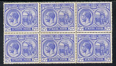 St Kitts-Nevis 1921-29 KG5 Script CA Columbus 2.5d ultramarine block of 6 unmounted mint SG 44