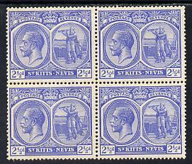 St Kitts-Nevis 1921-29 KG5 Script CA Columbus 2.5d ultramarine block of 4 unmounted mint SG 44