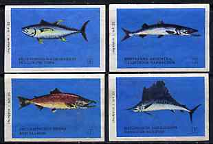 Match Box Labels - complete set of 4 Fish, superb unused condition (Finnish)