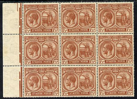 St Kitts-Nevis 1921-29 KG5 Script CA Columbus 1.5d red-brown block of 9, unmounted one stamp with background flaw (R7-1) SG 40a