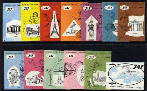 Match Box Labels - complete set of 12+1 Airlines, superb unused condition (Yugoslavian for JAT)