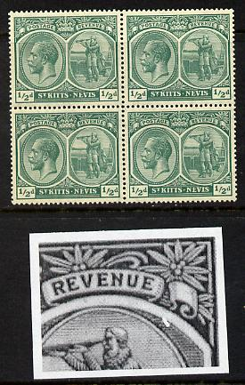St Kitts-Nevis 1921-29 KG5 Script CA Columbus 1/2d blue-green block of 4 unmounted one stamp with Flaw to right of Columbus R7-5) SG 37