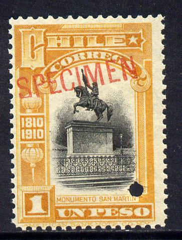 Chile 1910 Centenary of Independence 1p black & yellow optd SPECIMEN with security punch hole unmounted mint (ex ABN Co archives) SG 130