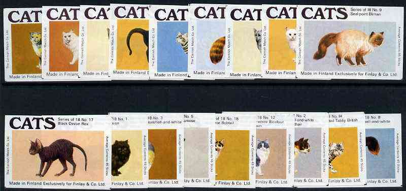 Match Box Labels - complete set of 18 Cats, superb unused condition (Cornish Match Co for Finlays)