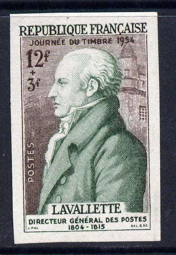 France 1954 Stamp Day 12f+3f (Lavallette) imperf in issued colours mounted mint Yv 969 as SG 1202