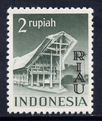 Indonesia - Riau-Lingga 1954 opt on 2r grey-green unmounted mint SG 18