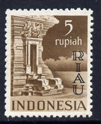 Indonesia - Riau-Lingga 1954 opt on 5r chocolate unmounted mint SG 20