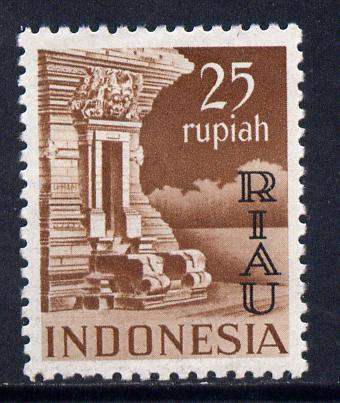 Indonesia - Riau-Lingga 1954 opt on 25r red-brown unmounted mint SG 22