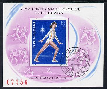 Rumania 1979 European Sports Conference imperf m/sheet from limited printing showing Gymnast fine cds used SG MS 4487