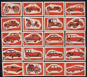 Match Box Labels - complete set of 20 Cars (red on pink) superb unused condition (Yugoslavian Drava series)