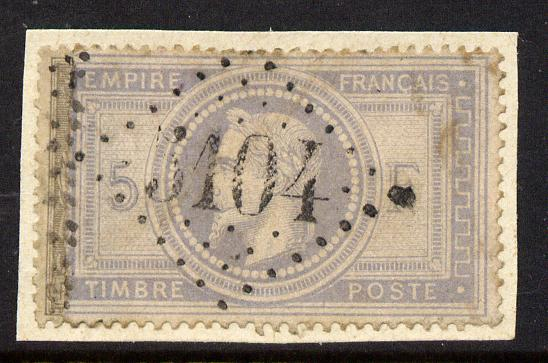 France 1869 Empire 5f useful space filler affixed to small piece thereby hiding small tears and thins, original catalogues \A31,100
