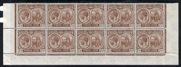 St Kitts-Nevis 1921-29 KG5 Script CA Columbus 2.5d brown block of 10 (folded) being bottom two rows without plate numbers, unmounted mint SG 43