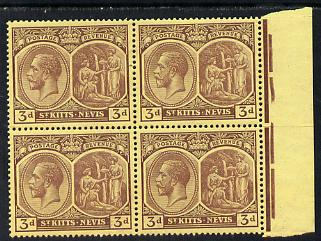 St Kitts-Nevis 1921-29 KG5 Script CA Medicinal Spring 3d purple on yellow marginal block of 4 unmounted mint SG 45a