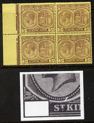 St Kitts-Nevis 1921-29 KG5 Script CA Medicinal Spring 3d purple on yellow marginal block of 4 one stamp with Pearl Flaw above K (R5-1), unmounted mint SG 45a