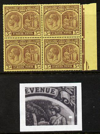 St Kitts-Nevis 1921-29 KG5 Script CA Medicinal Spring 3d purple on yellow marginal block of 4 one stamp with Broken line of shading at right (R5-5), unmounted mint SG 45a
