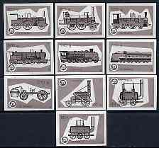 Match Box Labels - complete set of 10 Locomotives (grey background), superb unused condition (Yugoslavian Drava Series)